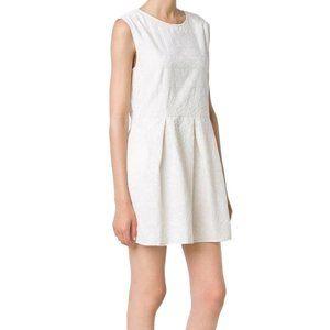 Cotton Embroidered Cream White Dress Pockets Tea